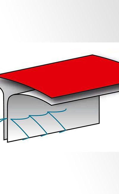 Couture Thermocollée cousue interne recouverte d'une bande themocollée pour une étanchéité optimale contre les poussières très fines et dangereuses.