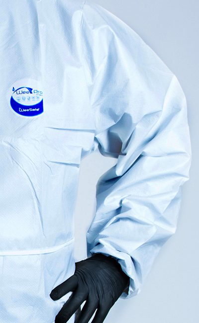 Bat-wing sleeve WeePro Col Coverall allows much greater freedom of movement