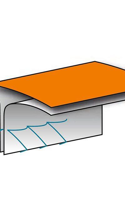 Couture Thermocollées Orange Combinaison WeePro Max + cousue interne recouverte d'une bande themocollée pour une étanchéité optimale contre les poussières très fines et dangereuses.