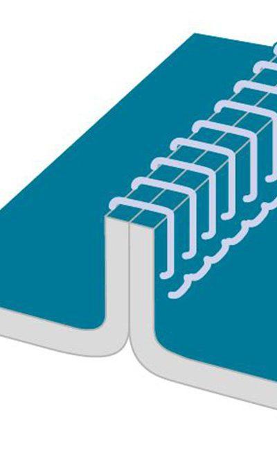 Couture surjetée pour une résistance mécanique soutenue. Convient pour les projections liquides légères et les particules sèches.