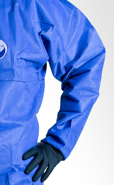 Bat-wing sleeve WeeCover Blue coverall allows muche grater freedom of movement