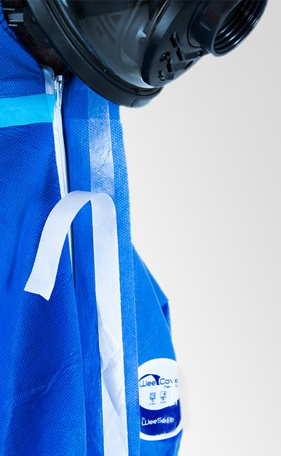 Self-adhesive zip flap WeeCover Max 1 Blue Coverall for increased protection