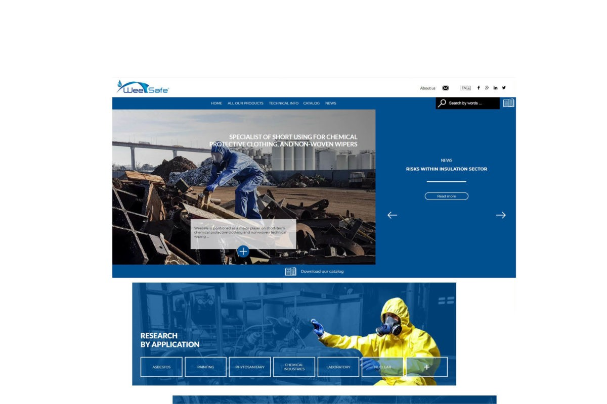 WeeSaf homepage + filtrer : protective clothing