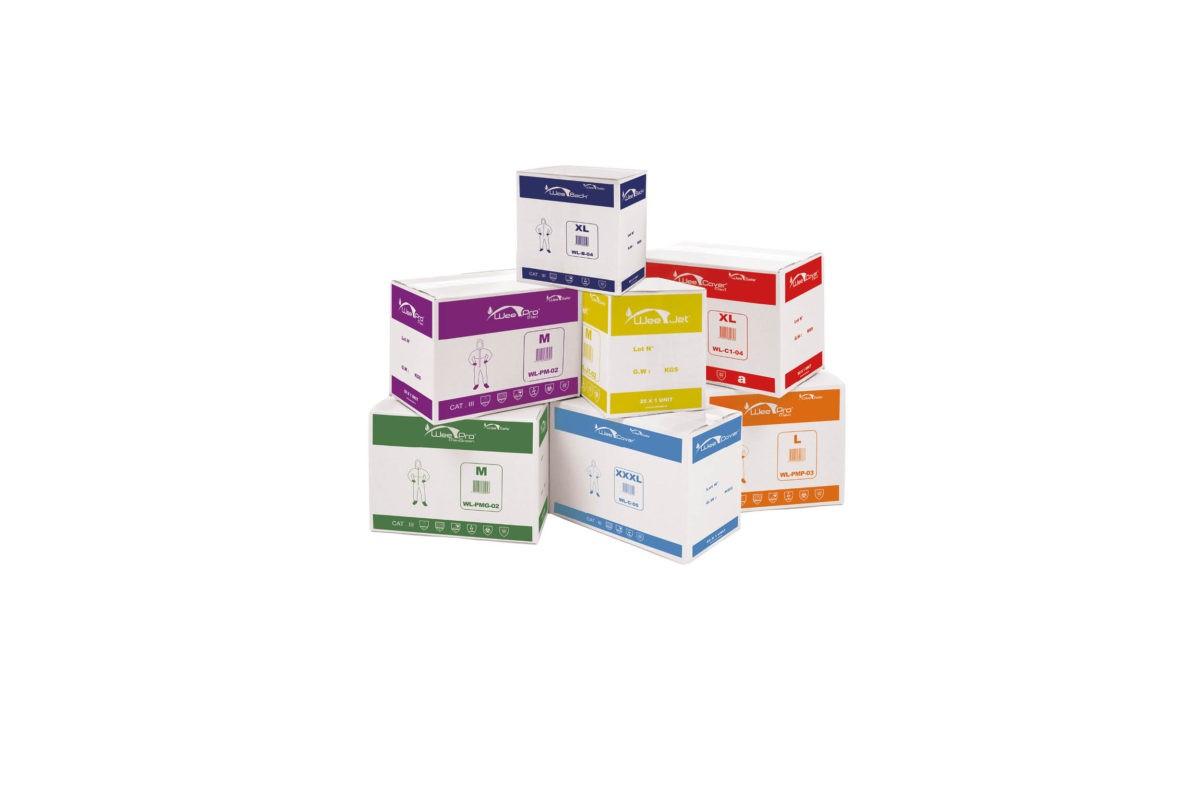 Carton blanc produit WeeSafe - Cardboard boxes stack